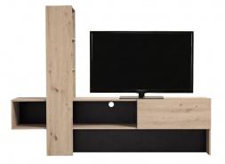 Moderný televízny stolík Timothea - dub šedý/čierna
