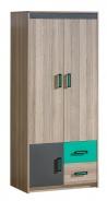 Dvojdverová šatníková skriňa Groen - jaseň/antracit/zelená