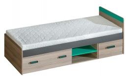 Detská posteľ 80x195cm s úložnym priestorom Groen - jaseň/antracit/zelená