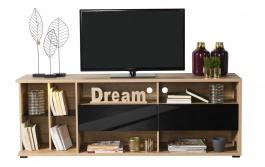 TV stolík so zásuvkami Orlando - dub artisan/čierna