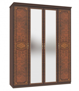 Štvordverová šatníková skriňa Elizabeth so zrkadlom a korunkou - orech
