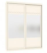 Šatníková skriňa s posuvnými dverami a zrkadlom Jasmine - krémová