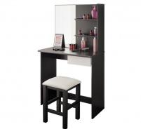 Toaletný stolík so stoličkou Kana - biela / čierna