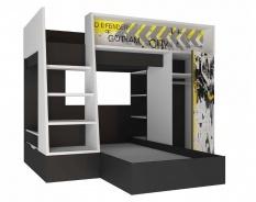 Poschodová posteľ Hero 90x200cm - biela/čierna/žltá