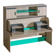 Multifunkčná sklápacia posteľ Groen so skriňkou a dvema nadstavci - jaseň/antracit/zelená