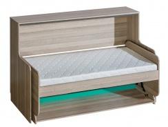 Multifunkčná sklápacia posteľ Groen - jaseň/antracit/zelená