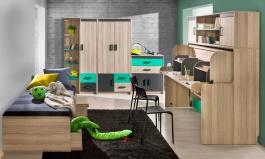 Izba pre dve deti Groen - jaseň/antracit/zelená
