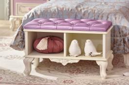 Polstrovaná lavice Comtesa - alabaster/fialová