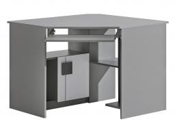 Rohový PC stôl Loki - biela/antracit