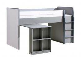 Vyvýšená posteľ 90x200cm so stolom Loki - biela/antracit