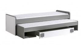 Detská posteľ 80x200cm s prístelkou aj úložným priestorom Loki - biela/antracit