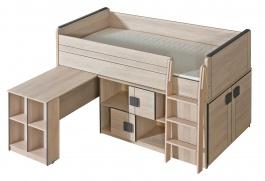 Multifunkčná posteľ 90x200cm so skrinkou Loki - dub santana/popol