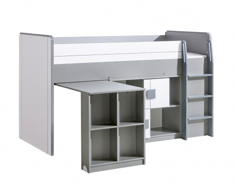 Multifunkčná posteľ 90x200cm so skrinkou Loki - biela/antracit