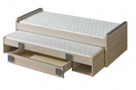Detská posteľ 80x200cm s prístelkou aj úložným priestorom Loki - dub santana/popol
