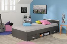 Detská posteľ Alpha 90x200cm - tmavo šedá