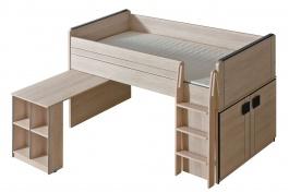 Vyvýšená posteľ 90x200cm so stolom Loki - dub santana/popol