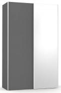 Šatníková skriňa so zrkadlom REA Houston 4 - graphite