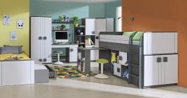 Detská izba Loki pre dve deti Loki - biela/antracit