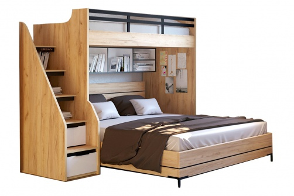 Poschodová posteľ Trendy 90x200cm-180x200cm - dub zlatý/biela