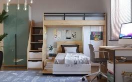 Detská poschodová posteľ Trendy 90x200cm - biela/dub zlatý