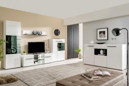 Obývacia zostava s osvetlením Heber - biela/čierna
