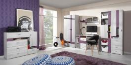 Detská izba Delbert A - bielená borovica / sivá