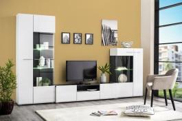 Obývacia stena s osvetlením Isadora - biela/dub čierny