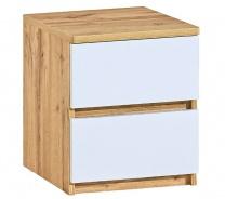 Zásuvkový nočný stolík Liana - biela/dub wotan