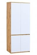 Dvojdverová šatníková skriňa Liana - biela/dub wotan