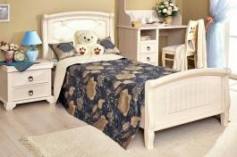 Detská posteľ 90x200cm s čalúneným čelom Annie - dub provence biela