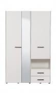 Šatníková skriňa so zrkadlom Samuel 3D - biela