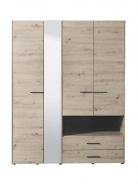 Šatníková skriňa so zrkadlom Samuel 4D - dub sivý