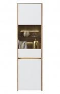 Vysoká vitrína s osvetlením Embra - dub artisan/biely lesk