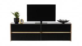 Televízny stolík s osvetlením  Embra - dub artisan/čierny lesk