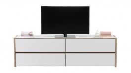 Televízny stolík Embra - dub artisan/biely lesk