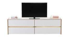 Televízny stolík s osvetlením Embra - dub artisan/biely lesk