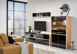 Televízna stena s osvetlením Embra - dub artisan/čierny lesk