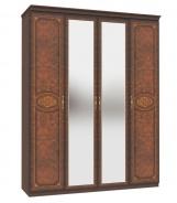 Štvordverová skriňa Elizabeth s kombinovanými dverami a ozdobnými lištami - orech