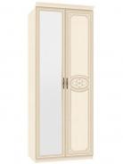 Dvojdverová skriňa Elizabeth s kombinovanými dverami a ozdobnými lištami - béžová