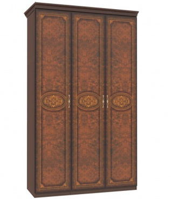 Trojdverová skriňa Elizabeth s plnými dverami a ozdobnými lištami - orech