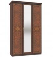 Trojdverová skriňa Elizabeth s kombinovanými dverami a ozdobnými lištami - orech