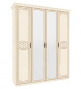Štvordverová skriňa Elizabeth s kombinovanými dverami a ozdobnými lištami - béžová