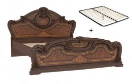 Manželská posteľ 160x200cm Elizabeth s plným čelom a roštom - orech