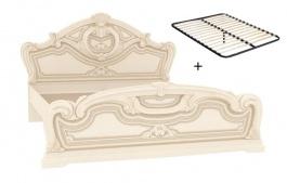 Manželská posteľ 160x200cm Elizabeth s plným čelom a roštom - béžová