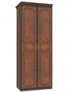 Dvojdverová skriňa Elizabeth s plnými dverami a ozdobnými lištami - orech