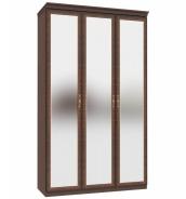 Trojdverová skriňa Elizabeth so zrkadlovými dverami a ozdobnými lištami - orech