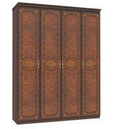 Štvordverová skriňa Elizabeth s plnými dverami a ozdobnými lištami - orech