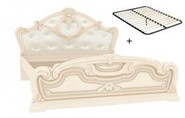 Manželská posteľ 160x200cm Elizabeth s čalúneným čelom a roštom - béžová