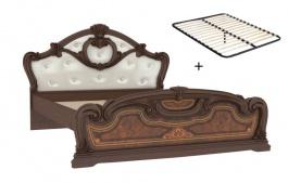 Manželská posteľ 160x200cm Elizabeth s čalúneným čelom a roštom - orech