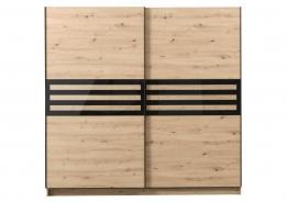 Šatníková skriňa s posuvnými dverami Rimini - dub artisan/čierna